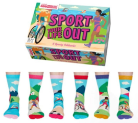 Oddsocks - Cadeaudoos met 6 verschillende sport sokken - Sport your life out - maat 37-42