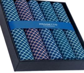 Cadeau doosje heren zakdoeken - 5 x katoenen zakdoek - donkere ruiten