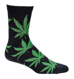 Wiet Cannabis sokken zwart met groene wiet bladeren maat 43 - 46