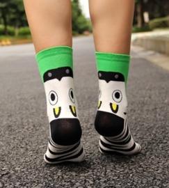 Dieren sokken 3D wit met groen maat 36-39