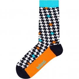 Ballonet Vane  dames sokken mt 36-40 blokjes motief met oranje en turquoise