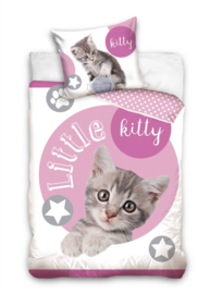 Dieren dekbedovertrek - Little Kitty - Kitten - poesje - eenpersoons