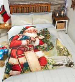 Kerst dekbedovertrek Kerstman in de sneeuw - 1 persoons met 1 kussensloop
