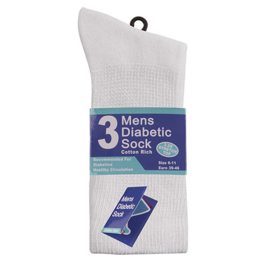 Witte diabetes sokken, set 3 paar, geen knellend boord en zachte teennaad , mt 39 - 46