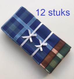 Heren zakdoeken - set van 12 stuks - 100% katoen - 3 kleuren