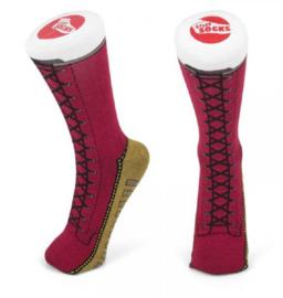 Enkellaarsjes sokken rood  - Silly socks - maat 37-45