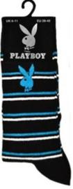 Playboy heren sokken zwart met blauw en witte strepen in maat 39 - 45