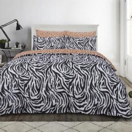 Zebra / Panter dekbedovertrek  Lits Jumeaux maat met 2 kussenslopen