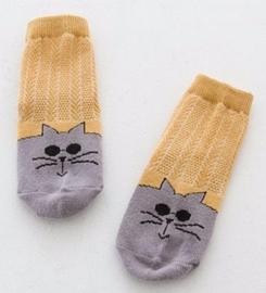 4830 antislip sokken grijs met okergeel en poezengezicht