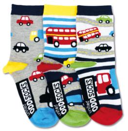 Oddsocks - Mismatched verschillende sokken - Auto's - 3 sokken - maat 27 tot 30