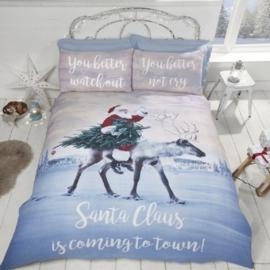 Kerst dekbedovertrek Coming to Town - 1 persoons met 1 kussensloop