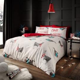 Kerst dekbedovertrek Christmas Sloth Luiaard - Lits Jumeaux met 2 kussenslopen