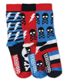 Oddsocks - Mismatched verschillende sokken - Skulls skelet schedel - 3 sokken - maat 31 tot 38