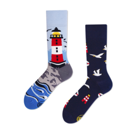 Many Mornings Mismatched sokken - Vuurtoren - maat 43 - 46