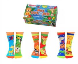 Mismatched kinder sokken - Cadeaudoos met 6 verschillende Dieren sokken - Mini Explorer - maat 27 - 30