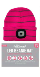 Kinder beanie muts met LED lamp in 3 sterktes - Fuchsia gestreept - voor 5 tot 12 jaar - vervangbare batterij