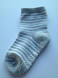 4807 antislip sokken lichtgrijs met witte streepjes