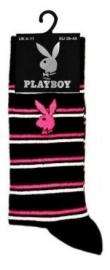 Playboy heren sokken zwart met roze en witte strepen in maat 39 - 45
