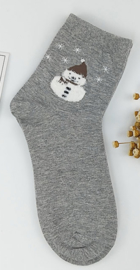 Sneeuwman sokken set van 3 paar assorti  rose maat 35-39