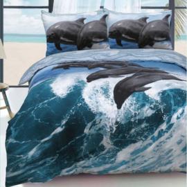 Dolfijn dekbedovertrek met grote afbeelding  - 2 persoons