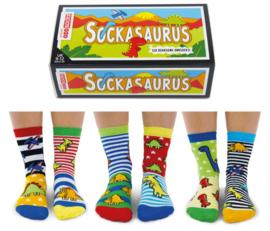 Oddsocks - Mismatched sokken - Cadeaudoos met 6 verschillende sokken - Sockasaurus - maat 27/30