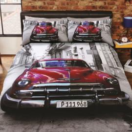 Santiago  Cuba dekbedovertrek met grote afbeelding van auto  -  eenpersoons  met 1 kussensloop