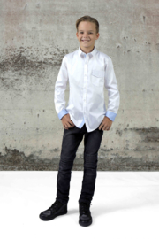 Vinrose Overhemd Vinchenzo Wit met blauw 110/116