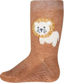 Antislip sokken Ewers krabbelfix leeuw toffeebruin - maat 19-22