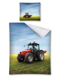 Tractor dekbedovertrek met afbeelding van rode tractor op grasland