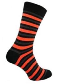 Neon sokken maat 39 - 46 rood gestreept