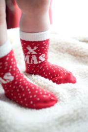 Baby kerst sok Bonnie Doon XMAS rood / wit maat 4 tot 8 mnd