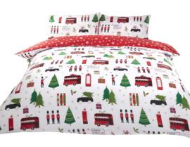 Kerst dekbedovertrek Christmas English Collage - Lits Jumeaux met 2 kussenslopen
