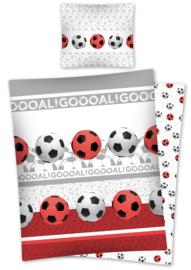 Voetbal dekbedovertrek Goal wit met rood