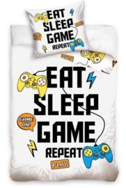 Gamers Eat Sleep Game Repeat dekbedovertrek - eenpersoons met kussensloop