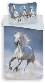 Paard Wit eenpersoons dekbedovertrek met kussensloop