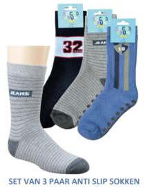 Anti slip sokken jeans - set van 3 paar - maat 19-22