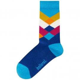 Ballonet Diamond Sea  dames sokken mt 36 - 40 blauw met okergeel, oranje en rood