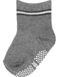 4813 antislip sokken grijs met zwart en wit streepje