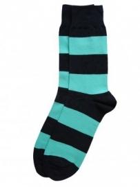 Bonnie Doon Sailor heren sokken navy /aqua gestreept mt 40 - 46