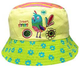 Baby zonnehoedje vogel in groen met geel en roze - maat 46,48