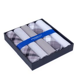 Cadeau doosje heren zakdoeken - 5 x katoenen zakdoek - Grijs/Wit