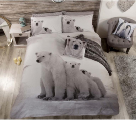 IJsbeer  lits jumeaux  dekbedovertrek 3 Polar Bears  - met 2 kussenslopen
