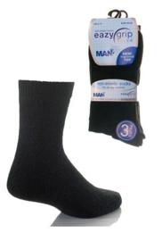 Eazy Grip effen non elastische zwarte sokken 3 paar mt 39 - 46 met zachte boorden die niet knellen
