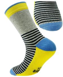 Ewers anti slip sokken Krabbelfix blauw / grijs / geel maat 17-18
