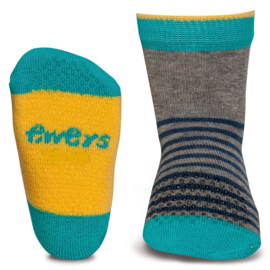 Ewers anti slip sokken Krabbelfix aqua / grijs / geel maat 17-18