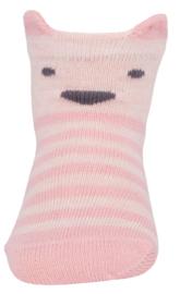 Ewers rose gestreepte sokken met dierengezicht maat 19-22