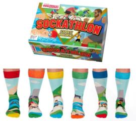 Oddsocks - Cadeaudoos met 6 verschillende sport sokken - Sockathlon - maat 39-46
