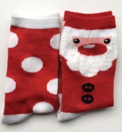 KERST fun sokken set van 2 paar,  rood met wit in maat 35 - 38