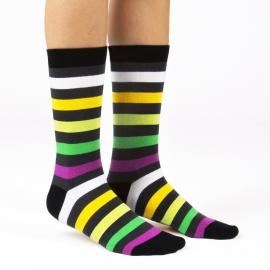 Ballonet LED  dames sokken mt 36 - 40 zwart met gekleurde strepen