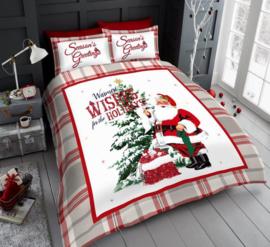 Kerst dekbedovertrek Retro Santa  Warmest Wishes - eenpersoons met 1 kussensloop